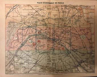 Vintage Paris Map Etsy - Restoration hardware paris map