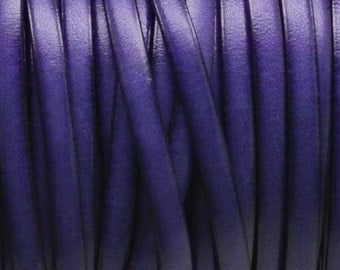 Made in Spain 5mm flat leather cord - Genuine purple leather strap to make leather bracelets jewelry or crafts - PREMIUM quality - PER YARD