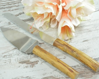 Wedding Cake Serving Set Cutting Set Rustic Knife Set Rustic Wedding Wood Hearts Personalized Rustic Wedding Cake Server Set Outdoor wedding