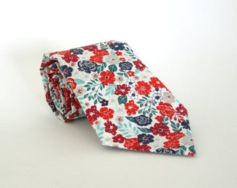 White Red Teal and Navy Blue Floral Necktie / Flower Print Maroon Green Mint Burgundy Silver Accents Cotton Spring Summer Wedding Groomsmen