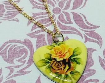 Flower Painted Heart Pendant Necklace
