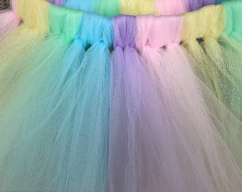 Pastel Rainbow Easter Unicorn Tutu - Baby Birthday Cake Smash Photo Prop Tutu