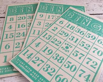 Vintage TEAL Bingo Cards~ BINGO~ Set/3~Junk Journal~Altered Art~Planner Supply~