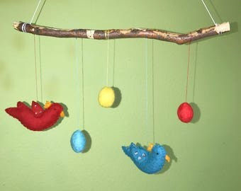Beautiful felt mobile hand nursery felted Merino Wool, fairytale wool, felt, for baby's room, Easter