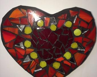 Mosaic 'Happy' Heart Wall Art