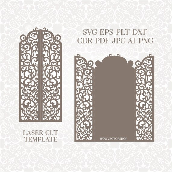 Laser Cut Envelope Template For Wedding Invitation Or Greeting