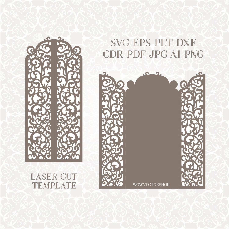 Laser Cut Envelope Template For Wedding Invitation Or