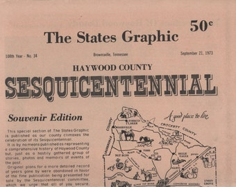The States Graphic Sept 21, 1973 HAYWOOD COUNTY Sesquicentennial Paper
