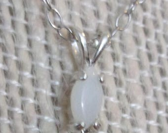 """Marquis Shaped Opal Cabochon with 18"""" Sterling Silver Chain"""