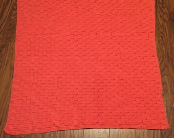 Coral color soft and warm baby afghan/blanket