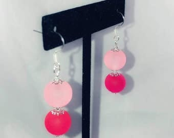 Light and Dark Pink Frosted Glass Dangles
