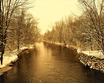 Winter Stream - Snowflakes, River, Woods, Nature Photography, Landscape Photography, Winter Scene