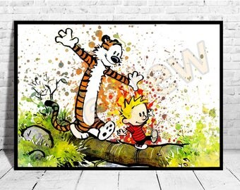 """Calvin and Hobbes Print Big Size up to 33""""x47"""" Kids Room Decor Wall Art Watercolor Canvas Cartoon Print Nursery ,Buy 2 Get 3rd FREE AG408"""