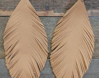 Tan leather fringe feather earings