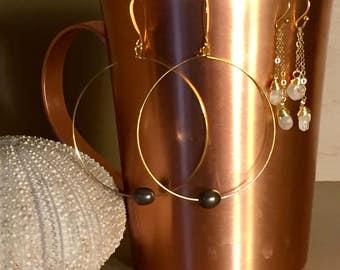 Freshwater Pearl Hoop Earrings 14k Gold & Silver