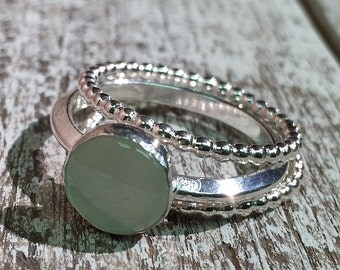 Chalcedony and Sterling Silver Stacking Ring