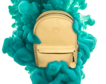 Leather backpack, yellow backpack
