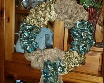 Burlap and jacquard ribbon wreath