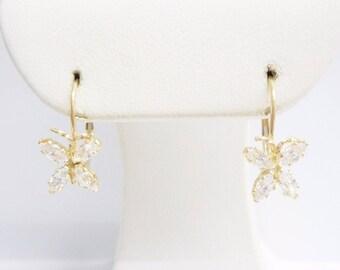 Butterfly Earrings, Gold Earrings, Cubic Zirconia, Leverbacks, 14k Yellow Gold Cubic Zirconia Butterfly Drop Leverback Earrings #1932