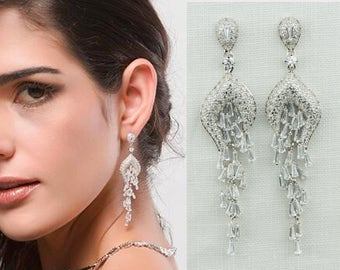 Wedding Chandelier Earrings Chandelier Earrings Wedding Earrings Long Chandelier Earrings Zirconia Silver Earrings Bridal Wedding Jewelry