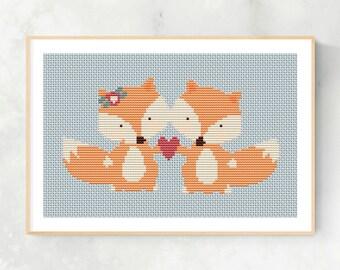 Foxes in love / Heart Cross Stitch Pattern / Mothers Day Decoration / Modern Cross Stitch / Fox Cross Stitch pattern