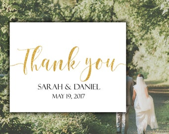 Thank You Card Custom Gold Wedding Cards Calligraphy