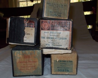 Set of 5 vintage player piano rolls