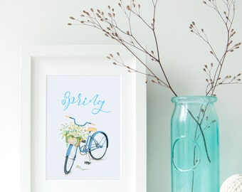 Vinatge bicycle spring printable art. Wall art printable spring word.