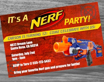 """Dart Gun Party Invite - Dark Red Personalized Custom Birthday Invite - 5"""" x 7"""" Super High Quality and Extremely Fast Service"""