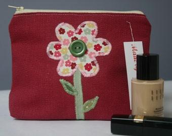 Make Up Bag with flower applique - Pinks