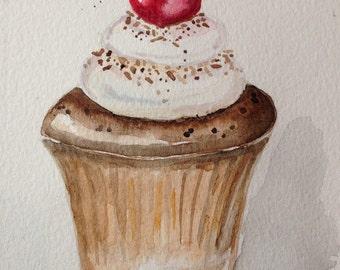 Cherry cupcake watercolour painting
