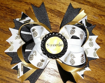 Pineapple Gold and White Boutique Hair Bow