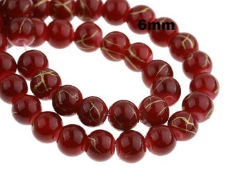 Gold, 20733 marbled 30 beads, glass beads, jewelry beads, 6 mm, red,
