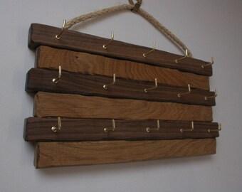 Bespoke ,Handmade Key ring holder oak and Walnut. Hooks for 15 keys