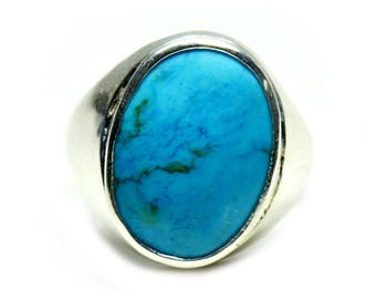 Line Turquoise Bold Ring,Blue Stone Bold Ring,Line Turquoise Stone Ring,925 Silver Ring,Birth Blue Stone,Natural Line Turquoise Ring,
