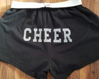 Cheer shorts,cheer practice wear,team practice wear,cheer on the butt,glitter cheer shorts,cheerleader gift, cheerleading,soffe cheer shorts