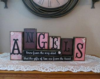 Angels Wood Blocks Love Heart Inspirational Gifts Word Blocks Heaven Heavenly