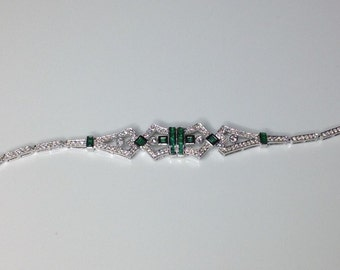"Estate Antique 18K White Gold 1.68 CTW Diamond & Emerald 7.5"" Bracelet 10.3 Gram"