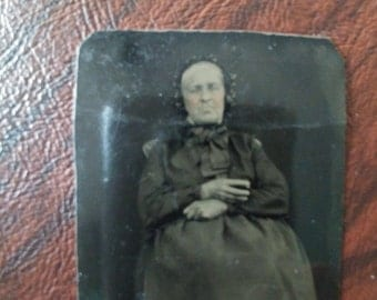 Antique Tintype of Older Woman, Possible Post-Mortem Picture