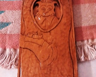 owl wood carved picture