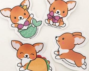 Corgi Stickers - 4 pack - One of Each