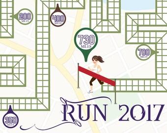 Women's Printable Running Goal Tracker (365, 730, or 1000 miles for 2017)