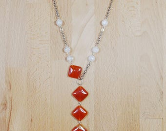 Carnelian necklace, quartz