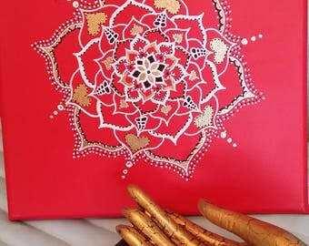 Beautifully Painted Mandala Painted Canvas/Meditation/Yoga/Healing/Reiki/Root Chakra