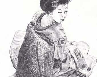 Picture of Japanese Maiko/Pencil drawing 舞妓さんの絵・鉛筆画