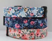 """Floral Dog Collar, Spring Vintage Inspired Fabric, Blue Flower, Pink Flower, Beautiful Rossettes. """"The Rossy"""""""
