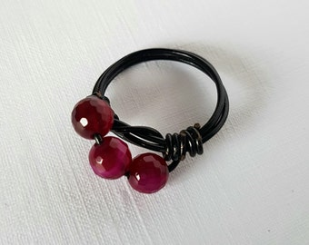 Wire Work Ring With Fuschia Pink Faceted Agate Beads