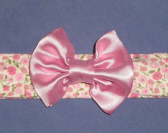 Floral Pink Cotton Baby Hair Band with Pink Satin Bow 6 Months+