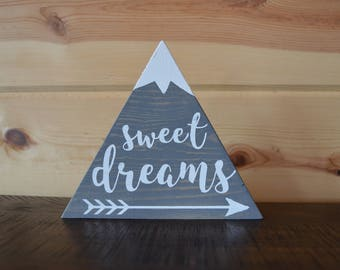 Sweet Dreams Grey Mountain Wood Sign with Snow Children's Room Decoration Handmade Sign