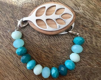 Bellabeat Leaf Bracelet - Aqua Glass Mix